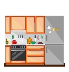 Kitchen in flat style - vector image