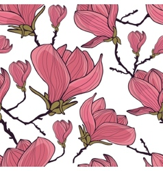Magnolia seamless pattern vector