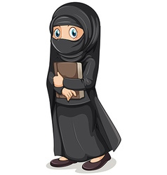 Muslim girl in black costume holding book vector