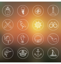Nautical icons set outline vector image vector image