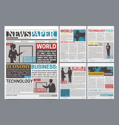 Newspaper online template realistic poster vector