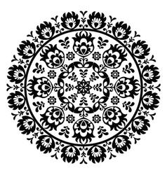 Polish folk art pattern in circle - wzory lowickie vector