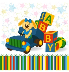 Rabbit on truck unload baby blocks vector