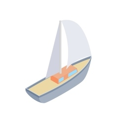 Sailing yacht race isometric 3d icon vector