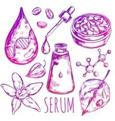 Serum drop cream elements vector