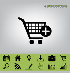 Shopping cart with add mark sign black vector