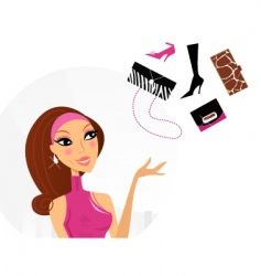 Shopping woman making decision vector