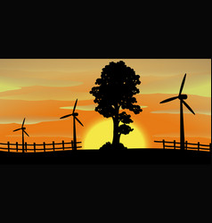 Silhouette scene with wind turbines in the field vector