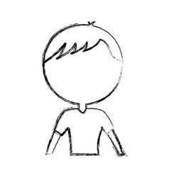 Sketch draw upper body man cartoon vector