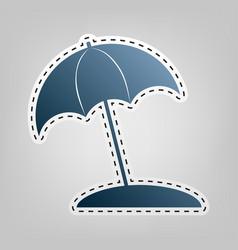 Umbrella and sun lounger sign blue icon vector