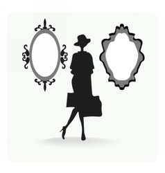 Vintage silhouette of a woman vector image