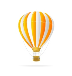 white and orange hot air ballon isolated vector image vector image