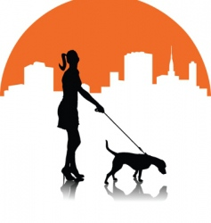 woman with dog vector image vector image