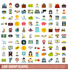 100 shop icons set flat style vector image