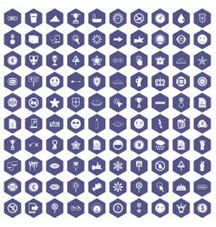100 symbol icons hexagon purple vector