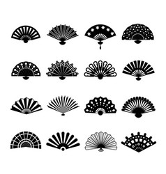 Hand paper fan icons chinese or japanese vector