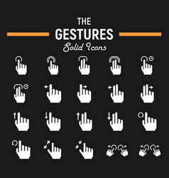 Touch gesture solid icon set touchscreen and hand vector