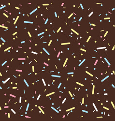 Colorful sprinkles donut chocolate glaze seamless vector