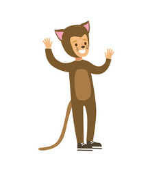 Child dressed as a cat with with cat makeup vector