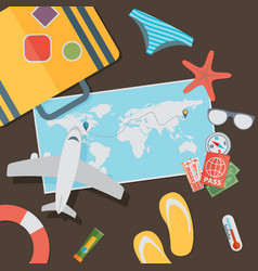 Flat travel with airplane design concept vector