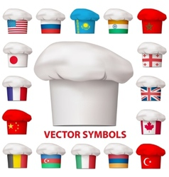 Set of national cuisine icons symbols vector