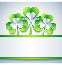Patricks day card grey with leaf clover and paper vector image