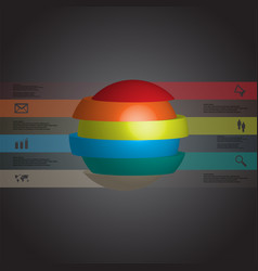3d infographic template with ball sliced to six vector