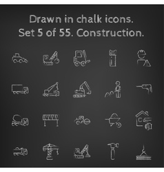 Construction icon set drawn in chalk vector