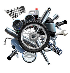 Motorcycle spares with wheel vector