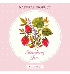 Strawberry floral design element vector