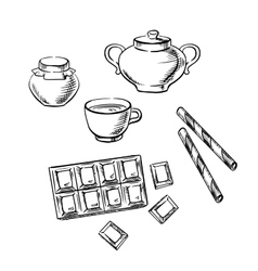 Tea cup confectionery and honey sketches vector