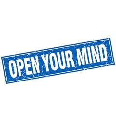 Open your mind blue square grunge stamp on white vector