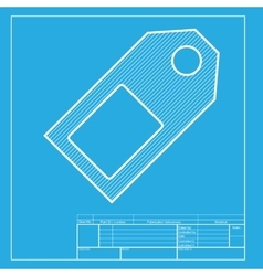 Price tag sign white section of icon on blueprint vector
