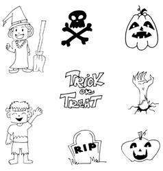 Halloween zombie witch pumpkins doodle cute vector
