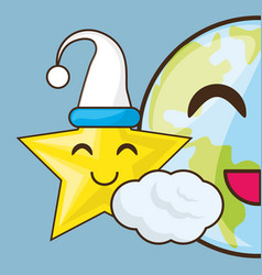 Adorable earth and star with sleep hat vector