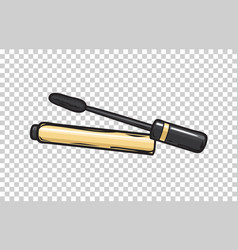 black mascara in gold tube isolated vector image vector image