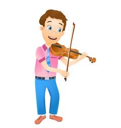 Boy playing violin vector