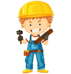 Carpenter with wood and tools vector