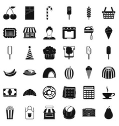 Chocolate icons set simple style vector