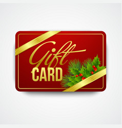Christmas gift card with holly vector