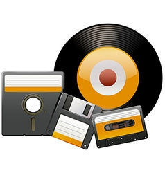 Classic disks and tapes vector