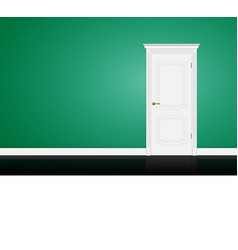 Closed white door on green wall vector