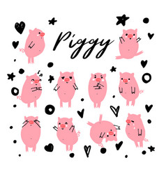 cute piggy character set of emotional pig vector image