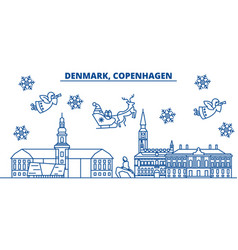 Denmark copenhagen winter city skyline merry vector
