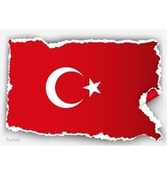 Design flag turkey from torn papers with shadows vector