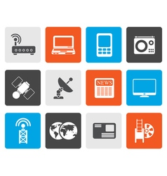 Flat Business technology communications icons vector image vector image
