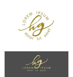 H g handdrawn brush monogram calligraphy logo vector