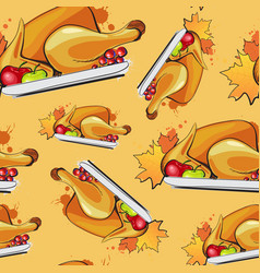 happy thanksgiving day seamless pattern autumn vector image