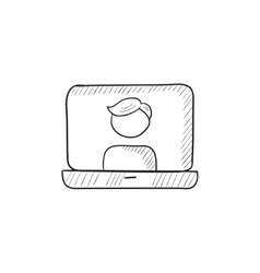 Laptop with man on screen sketch icon vector image vector image