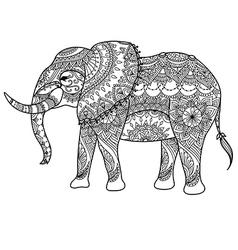 Mandala elephant coloring vector